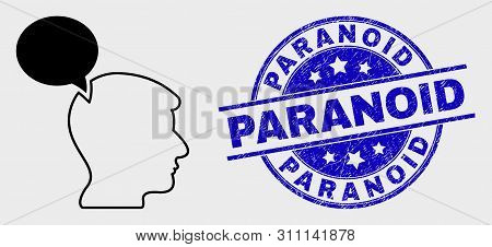 Vector Linear Head Thinking Cloud Icon And Paranoid Seal Stamp. Blue Round Grunge Stamp With Paranoi