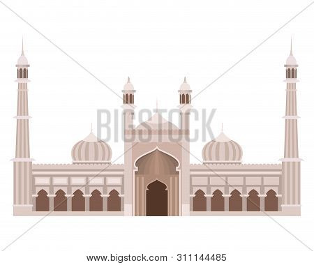 Edification Of Islamic Mosque Jama Masjid And Indian Independence Day Vector Illustration Design