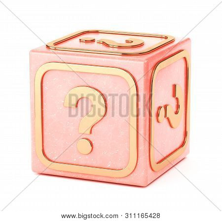 Marble Cube With Gold Qusetion Mark Icon. Square Building Toy Block Isolated On White Background. 3d