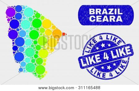 Rainbow Colored Dot Ceara State Map And Rubber Prints. Blue Round Like 4 Like Scratched Stamp. Gradi