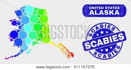 Spectral Dotted Alaska Map And Seals. Blue Round Scabies Scratched Seal Stamp. Gradiented Spectral A