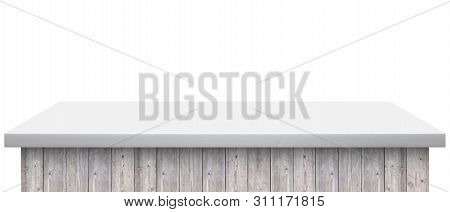 Light Wooden Table Top Isolated On White Background - Can Be Used For Display Or Montage Your Produc