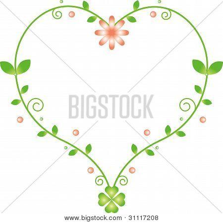 Natural heart-shaped frame