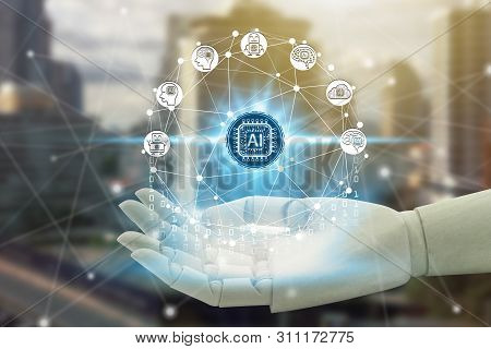 Robot Hand Holding With Virtual Screen Artificial Intelligence Technology Icon Over The Network Conn
