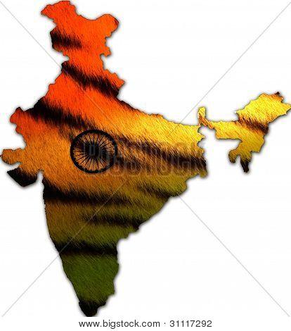 India in tiger skin pattern