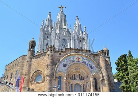 Barcelona, Spain. Temple Of The Sacred Heart On Mount Tibidabo