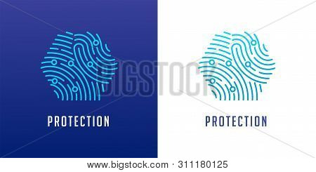 Fingerprint Scan Logo, Privacy, Cyber Security , Identity Information And Network Protection. Vector
