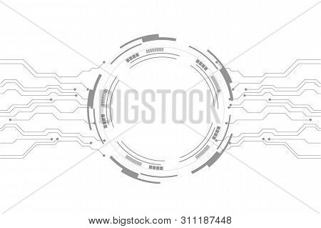 Vector Abstract Futuristic Circuit Board On White Background, Vector Circuit Board And Communication