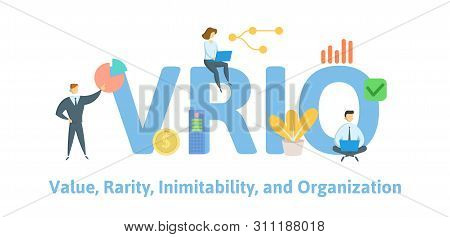 Vrio, Value, Rarity, Imitability, Organization. Concept With People, Letters And Icons. Flat Vector