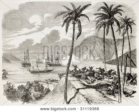 French intervention in Mexico: attacking battery among palm trees. Created by Dumont, published on L'Illustration, Journal Universel, Paris, 1863