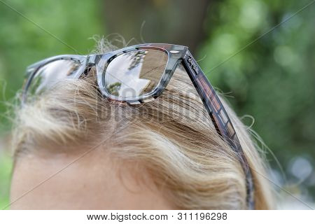 Belgrae, Serbia- July 27, 2018: The Ray-ban Caravan With Brown Frame And Classic Attractive Look In