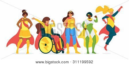 Superwomen Flat Vector Illustration Collection. Female Superheroes, Equal Rights Fighters Cartoon Ch
