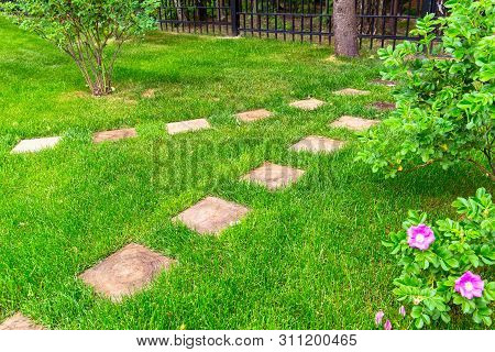Landscaping In Home Garden. Natural Landscape Design With Path And Flowers In Summer. Beautiful Land