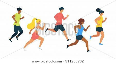 Running People Flat Vector Illustration. Runners, Athletes Jogging In Sport Outfit Cartoon Character