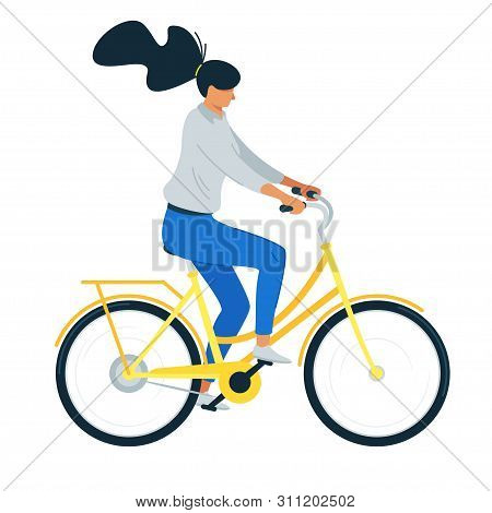 Woman Riding Bicycle Flat Vector Illustration. Female Cartoon Character On Utility Bike, Girl Cyclis