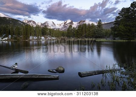 Sunrise On Sprague Lake In Rocky Mountain National Park