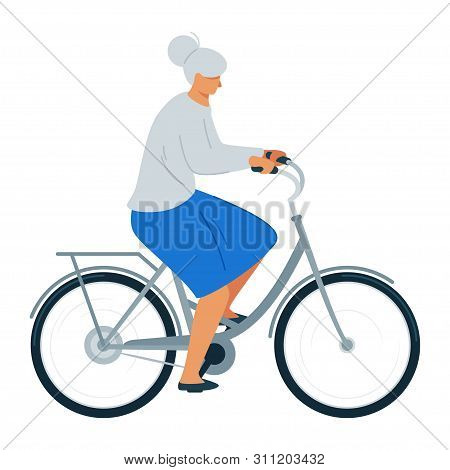 Elderly Woman Riding Bicycle Flat Vector Illustration. Senior Lady In Casual Clothes Cartoon Charact