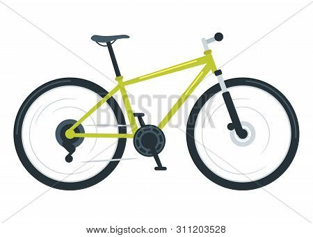 Mountain Bike Flat Vector Illustration. Bicycle For Off-road Cycling. Mountain Biking. Extreme Outdo