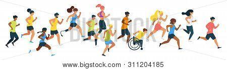 Marathon Runners Flat Vector Illustration. Athletes, Runners, Sportsman With Disability Cartoon Char