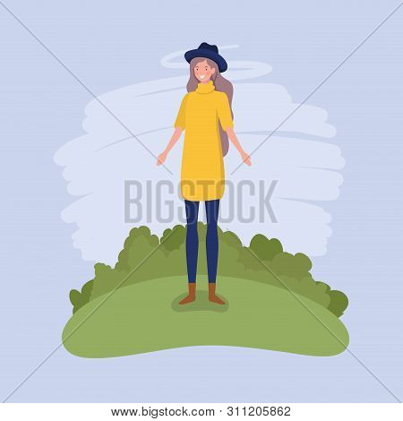 Young Woman With Tophat Standing In The Camp Vector Illustration Design