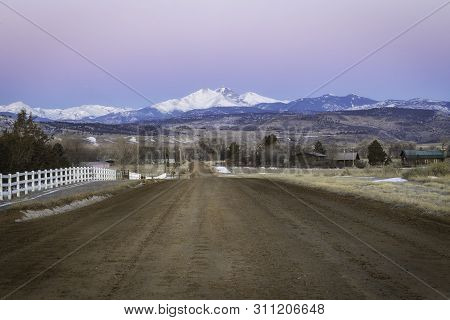 Dirt Road Leading To The Longs Peak Sunrise
