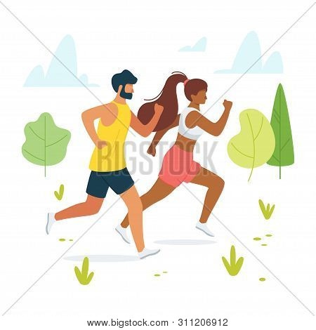 Jog, Run, Exercise In Forest, Woods Flat Vector Illustration. Man And Woman, Couple, Friends Jogging