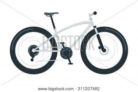 Fat Bike Flat Vector Illustration. Off-road Bicycle With Oversized Tires. Mountain Biking. Extreme O