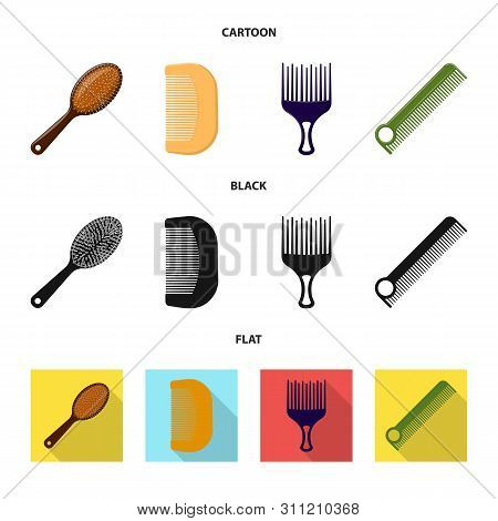 bitmap illustration of brush and hair sign. Set of brush and hairbrush stock symbol for web. poster
