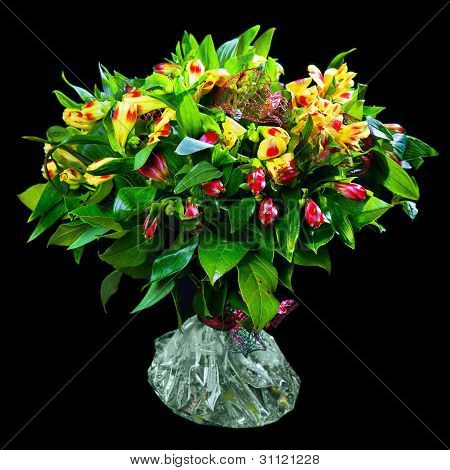 bouquet of red and yellow alstroemeria