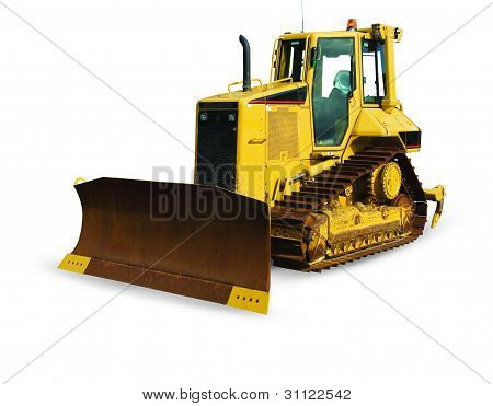 Bulldozer on a white background. Clipping path included.