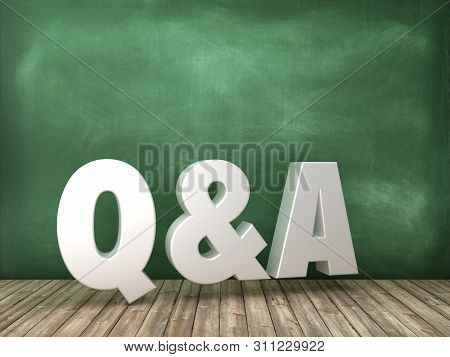 Q&a 3d Word On Chalkboard Background - High Quality 3d Rendering