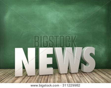News 3d Word On Chalkboard Background - High Quality 3d Rendering