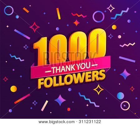 Thank You 1000 Followers, Thanks Banner.first 1k Follower Congratulation Card With Geometric Figures