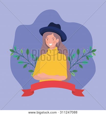 Young Woman With Tophat And Frame Ribbon Vector Illustration Design
