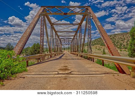 A Center Closeup Of The Old Trestle Bridge That Crosses Walnut Creek Along Williamson Valley Road In