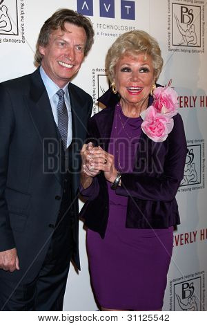 LOS ANGELES - MAR 18:  Nigel Lythgoe; Mitzi Gaynor arrives at the Professional Dancer's Society Gypsy Awards at the Beverly Hilton Hotel on March 18, 2012 in Los Angeles, CA
