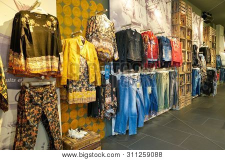COLOGNE, GERMANY - CIRCA OCTOBER, 2018: interior shot of a Desigual store in Cologne.