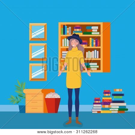 Young Woman With Tophat Standing In The Library Vector Illustration Design