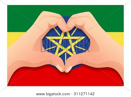 Ethiopia Flag And Hand Heart Shape. Patriotic Background. National Flag Of Ethiopia Vector Illustrat