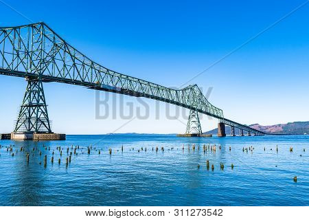 A Section Of The Astoria-megler Bridge, A Steel Cantilever Through Truss Bridge In The United States