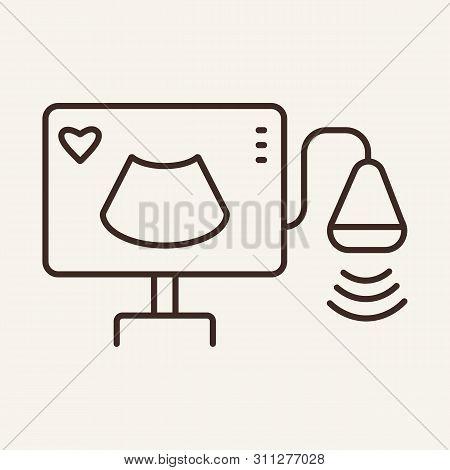 Ultrasound Line Icon. Monitor, Scanner, Medical Equipment. Medicine Concept. Vector Illustration Can
