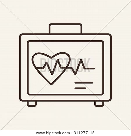 Cardiograph Line Icon. Cardiogram On Monitor, Heart Beat, Pulse. Medicine Concept. Vector Illustrati