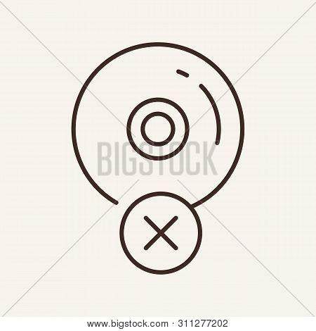 Cd Unavailable Line Icon. Error, Cross In Circle, Compact Disc. Software Concept. Vector Illustratio