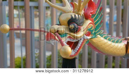 Aberdeen, Hong Kong 12 May 2019: Dragon boat for display in Hong Kong