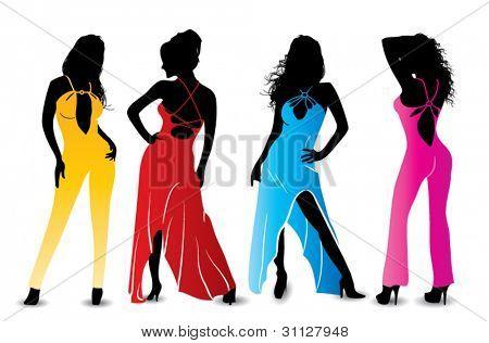 Sexy woman fashion silhouettes