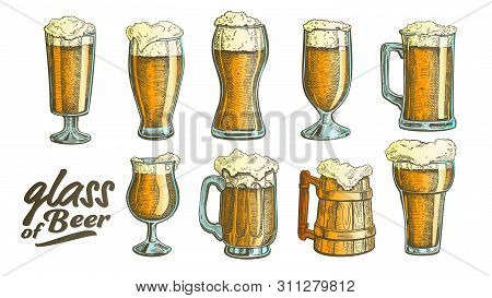 Hand Drawn Glass With Foam Bubble Beer Set Vector. Glass And Wooden Goblet With Alcoholic Cold Bever