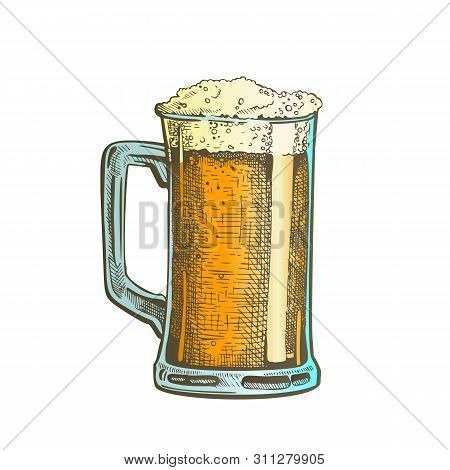 Hand Drawn Mug With Froth Bubble Beer Drink Vector. Full Mug With Handle And Alcoholic Fresh Cold Br