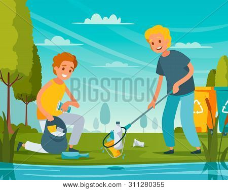 Nature cleanup flat composition with volunteers picking up litter bottles plastic packaging trash near pond vector illustration poster
