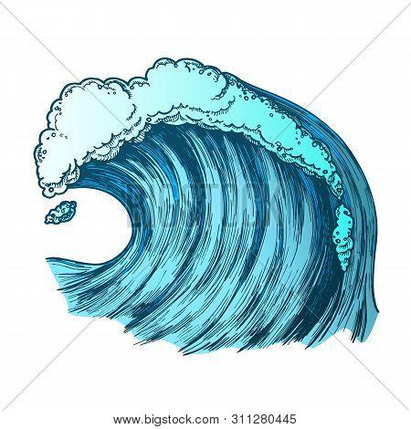 Rushing Foamy Tropical Ocean Marine Wave Vector. Dangerous Great Cool Standing Marine Surge Storm Ti