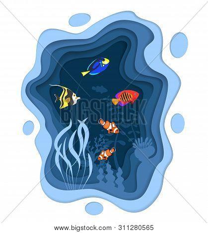 Underwater World Design With Coral Reef Fishes In Paper Cut Style. Exotic Aquarium Vector Illustrati